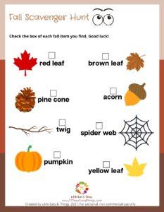 Fall Activity Sheet-Scavenger Hunt- Free Printable  littleeatsandthings.com