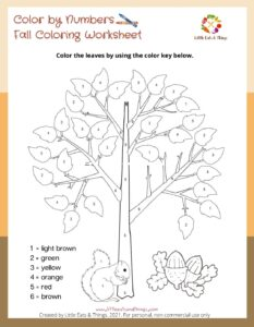 Fall Activity Sheet-Color by Number- Free Printable  littleeatsandthings.com