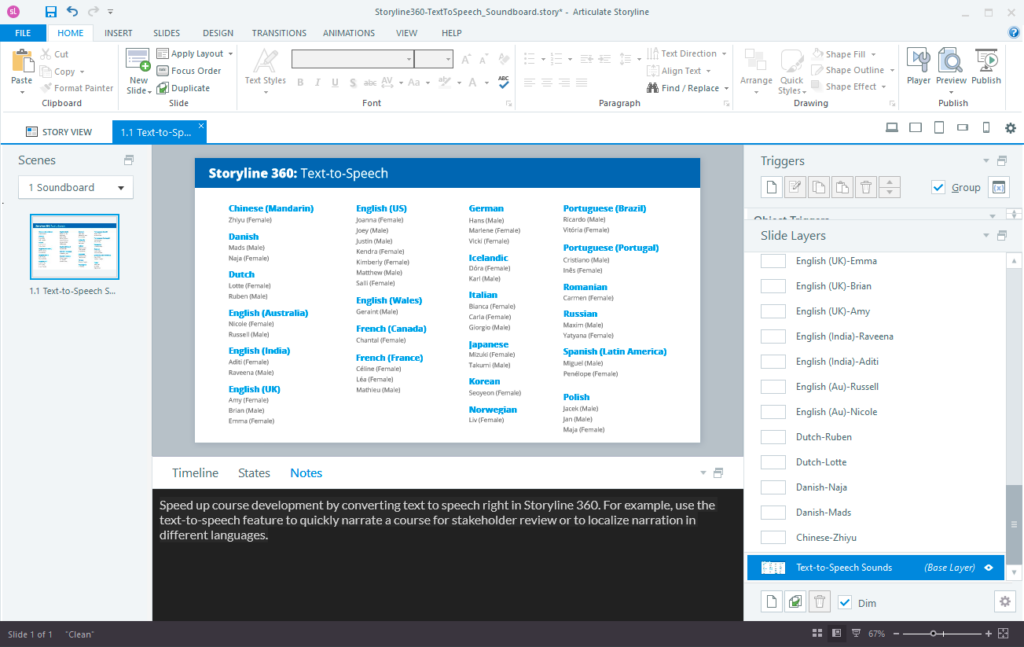Storyline 360 Notes Panel