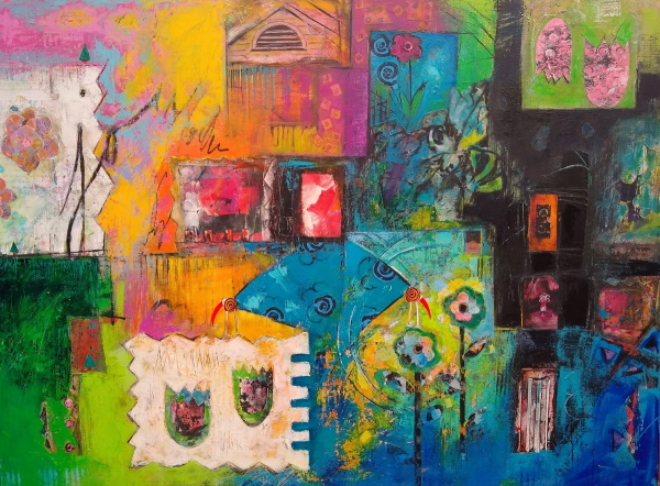 This is a colorful, abstract painting about joy.
