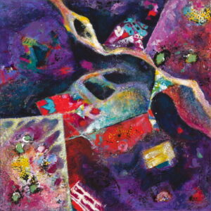 Liminal Space Painting with Purple Acrylic and Collage Elements