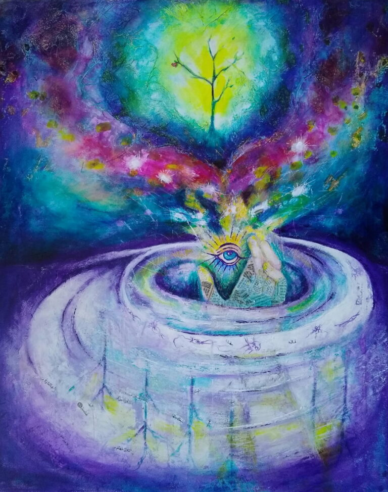 Painting about creation with the hand of God, the tree of life, and a cosmic sky.