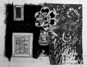 Painting of a Water Spigot, Window, and a Door