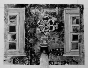 A pen and ink drawing with collage elements showing a water spigot and two windows.