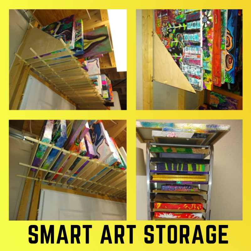 This is a photo of an art storage solution for paintings on canvas.