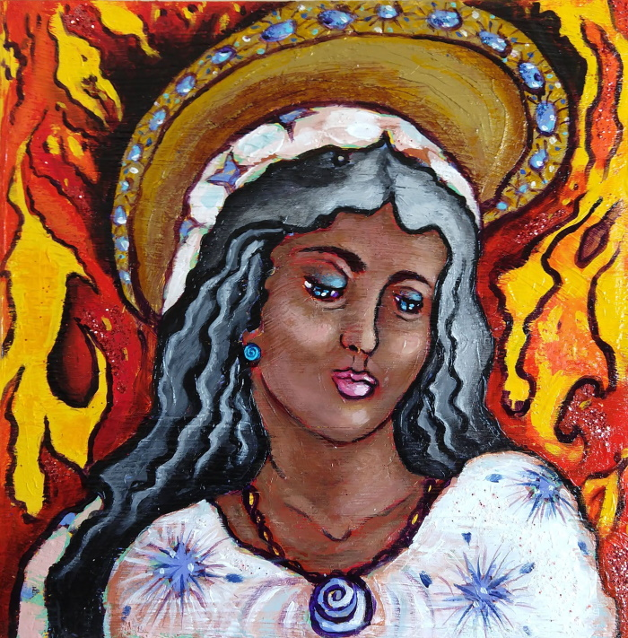 This is a painting of the Virgin Mary with a ring of fire around her head.