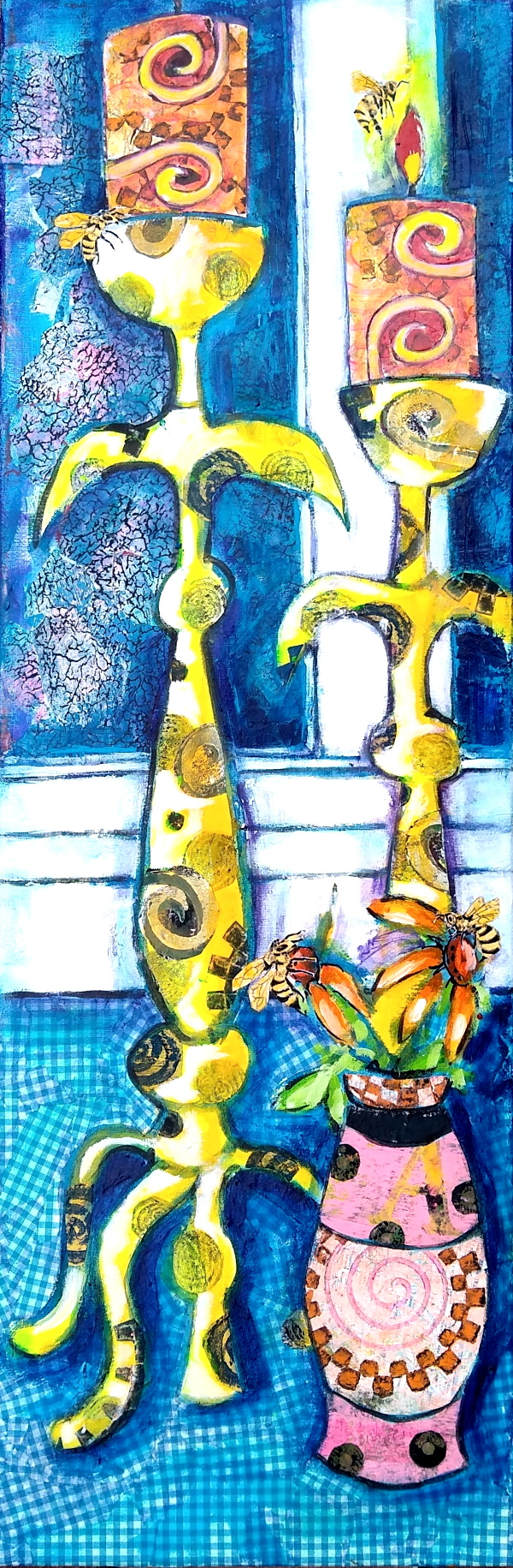 This is a painting of candlesticks, a vase with zinnias, and some bees. In the distance is a windowpane.