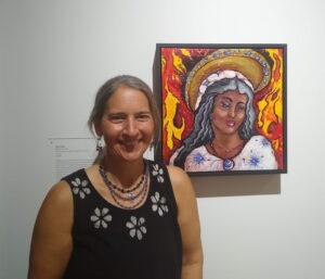Photo of fine artist, Alisa E. Clark, at the 8th Catholic Arts Biennial.