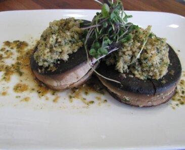 Portabella mushrooms with cashew caper stuffing