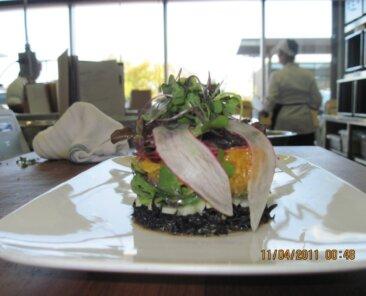 Seaweed salad in ring mold