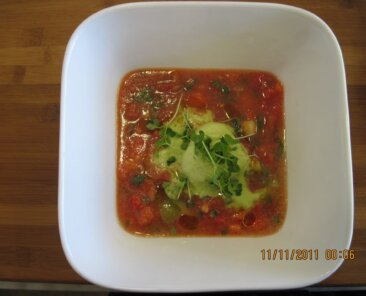 Tomato/Tomatillo gazpacho with a basil sorbet