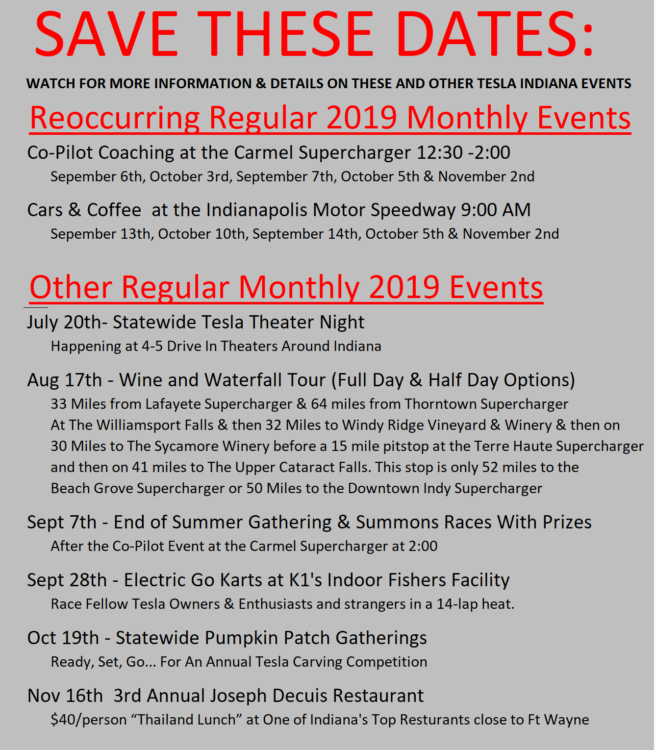 2019 2nd half events