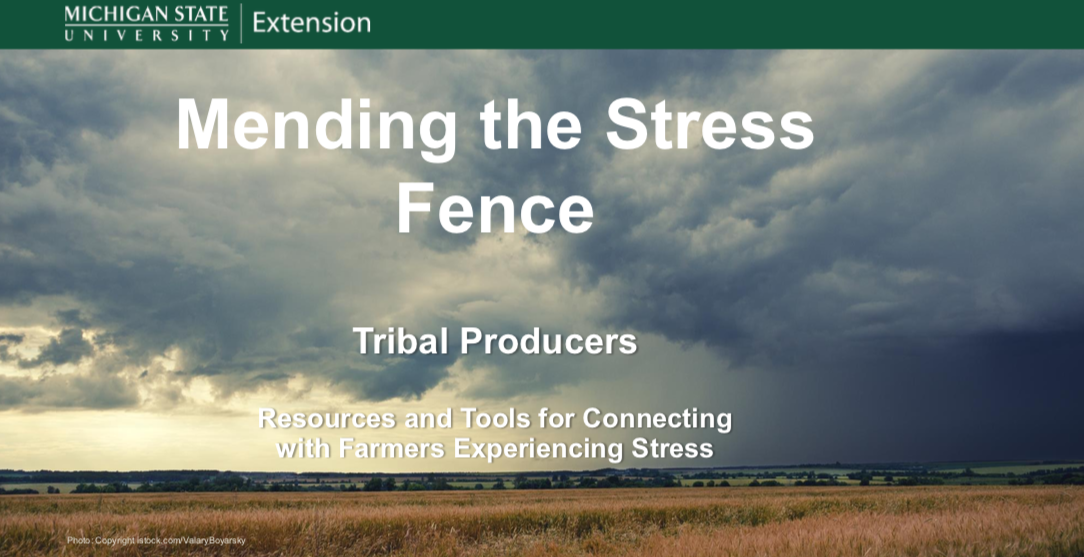 Powerpoint presentation cover slide: Mending the Stress Fence, links to powerpoint
