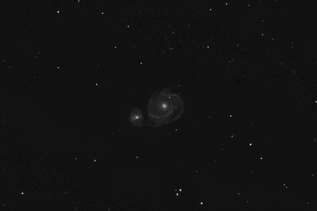 Whirlpool Galaxy, M51, stacked and roughly processed image from exposures taken on 2-20-21.