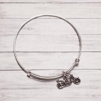 Silver Tone Motorcycle Bangle Bracelet