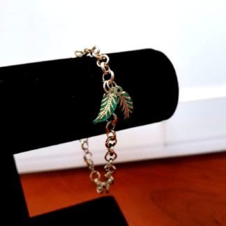 Silver Tone Bracelet with Leaf Charms
