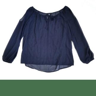 AB Studio Sheer Cold Shoulder Top (Size M)