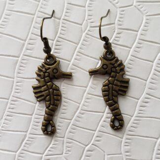 Bronze Tone Seahorse Earrings