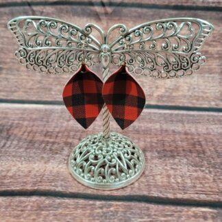 Faux Leather Buffalo Plaid Leaf Earrings