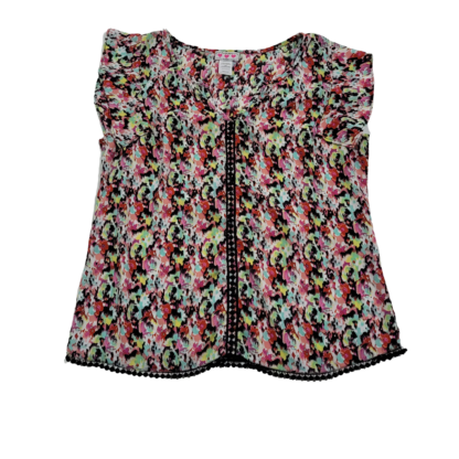 Three Pink Hearts Floral Top (Size L)