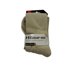 Fits USA Men's shoe size 9-12.5 New in package - Contains one pair Underarmour Heatgear Boot Socks (Size L - 9-12.5)
