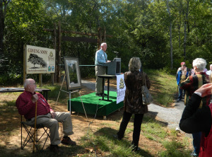 Hardwood Tree Museum board member Bob Gillson at trail dedication