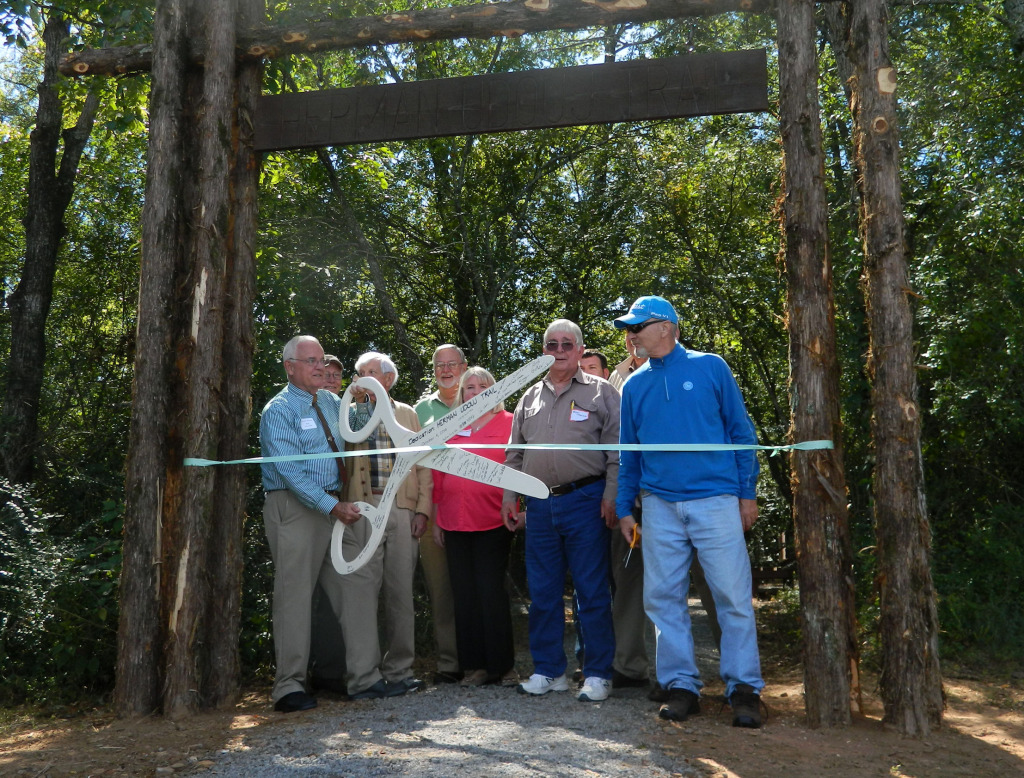Mayor Sandy Sanders and Hardwood Tree Museum board members dedicating the Herman J. Udouj Memorial Trail
