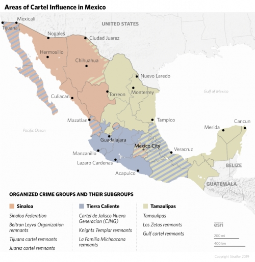 Need for a border wall. Mexican Drug Cartels dominate the geography in Mexico in waring factions.