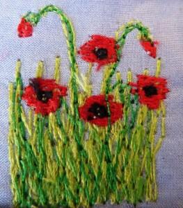 Free Machine Embroidered Poppies www.kateskloths.co.uk