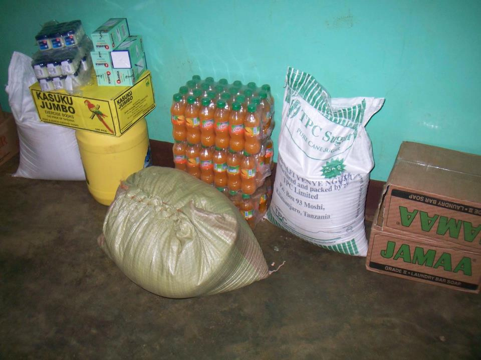 Rice, sugar, juice, cooking oil and other supplies donated to our Centre by the Tanzania Revenue Authority