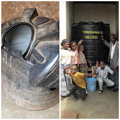 MAHOCE's old water storage container (L) and the new one (R) made possible by donations through Harambee