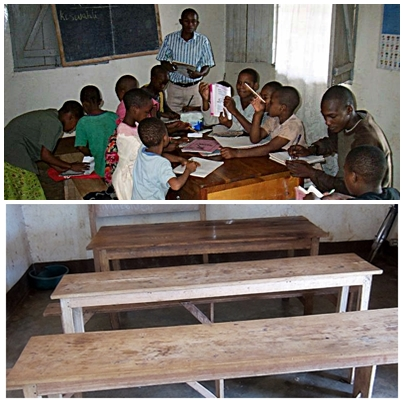 (T) Children crowded around a single desk. (B) Supporters of Harambee have purchased desks & benches for a better learning experience.