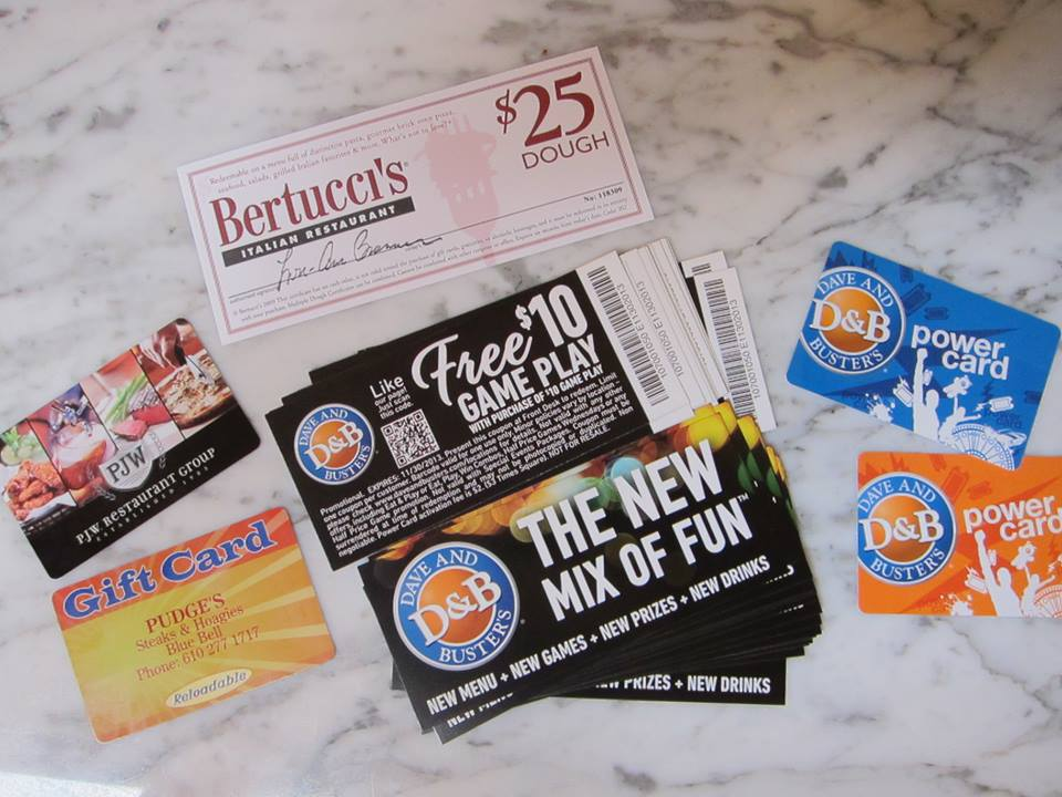 AN ARRAY OF GREAT GIFT CARDS FOR OUR RAFFLE