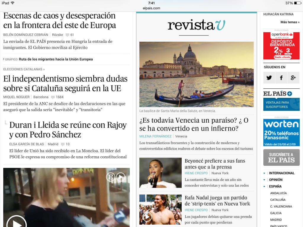 Los límites del publirreportaje - Portada El País 27 Agosto 2015