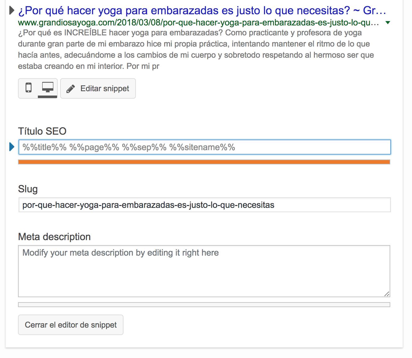Cómo Usar Yoast SEO Plugin - Título, meta y URL sin optimizar