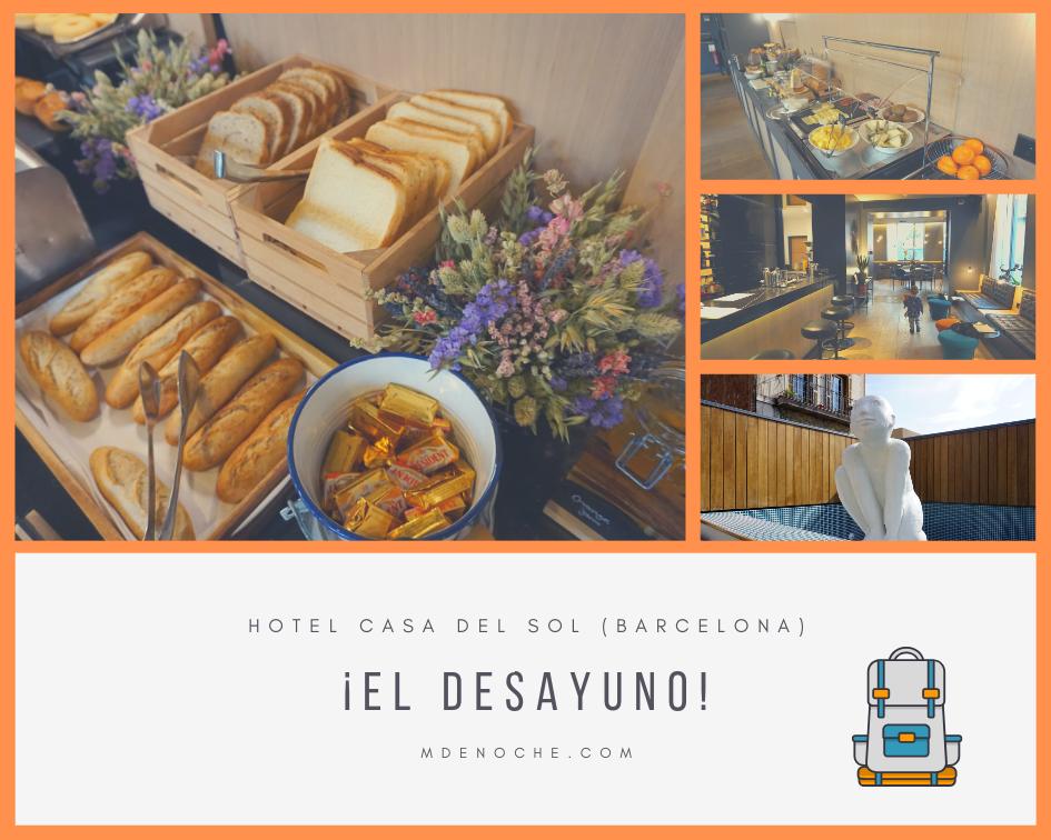 Detalles del desayuno en el hotel casa del sol Barcelona