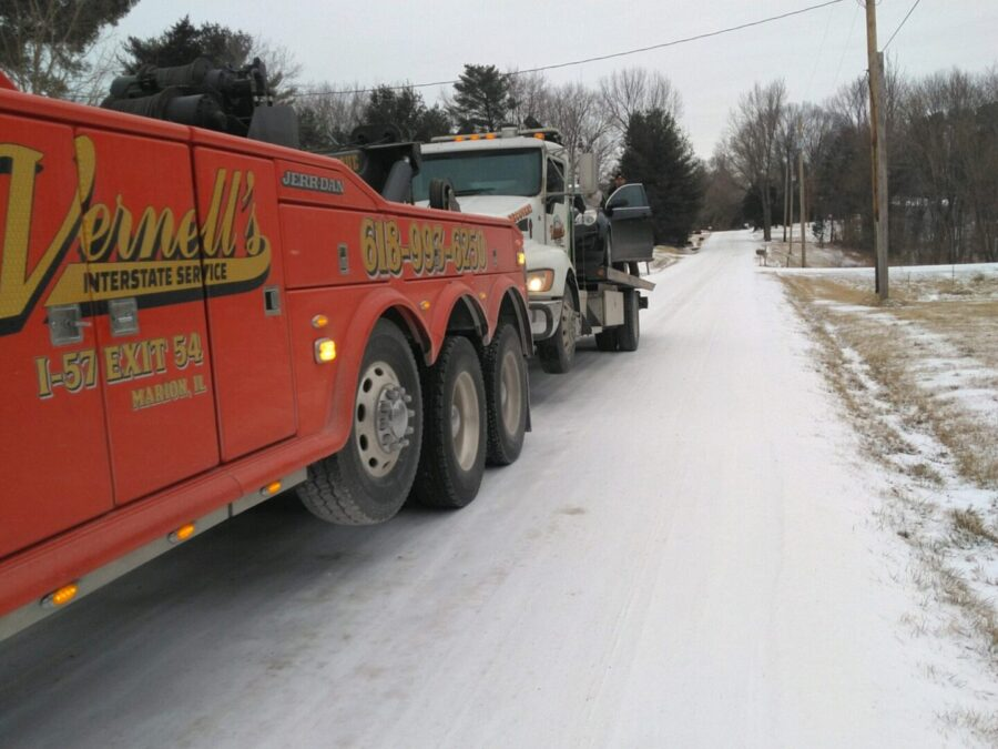 Vernell's trucks on snowy road