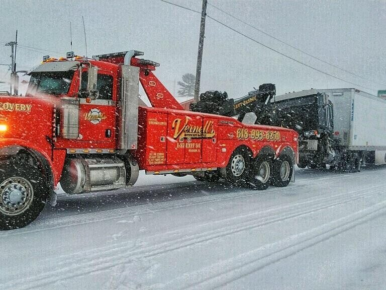 Tractor trailer recovery in snow