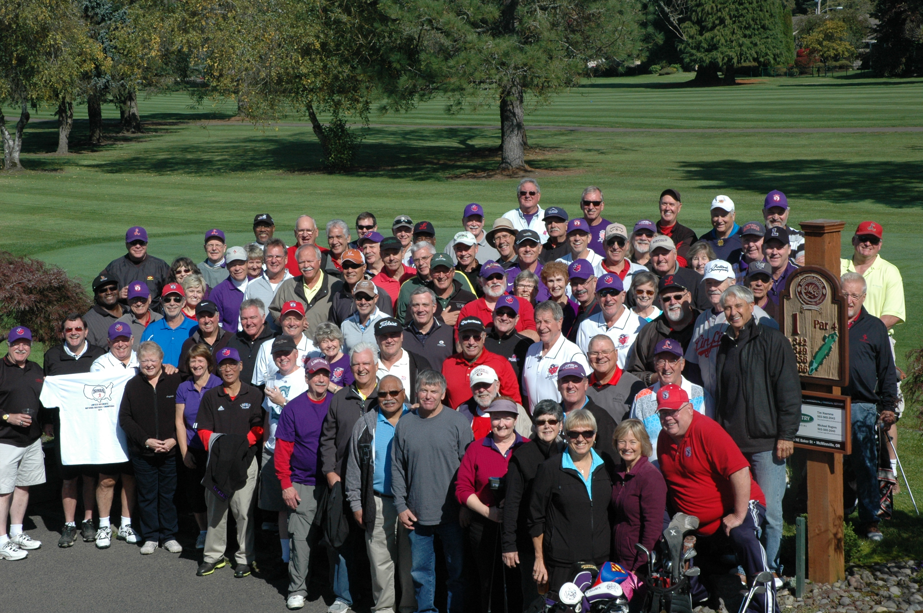 Group shot of the 2013 golf tournament participants. Click to enlarge and see if you reognize all of them.