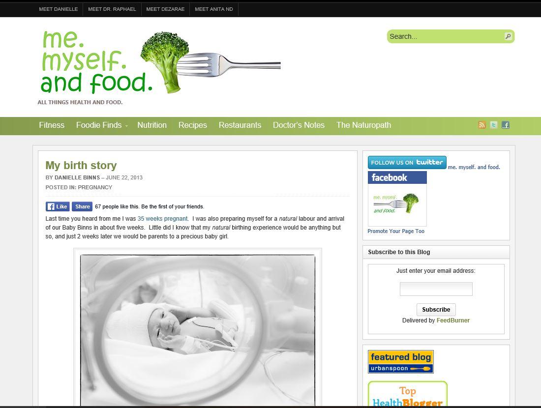 Me Myself and Food My birth story