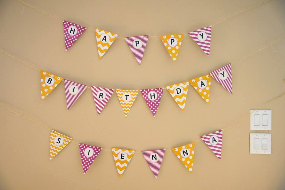 Sienna's first birthday party - pennant banner