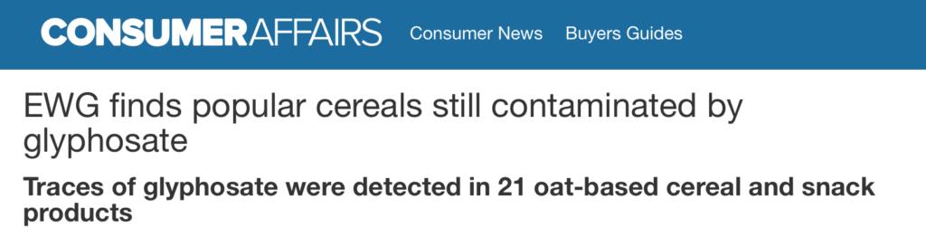 glyphosates in popular cereals