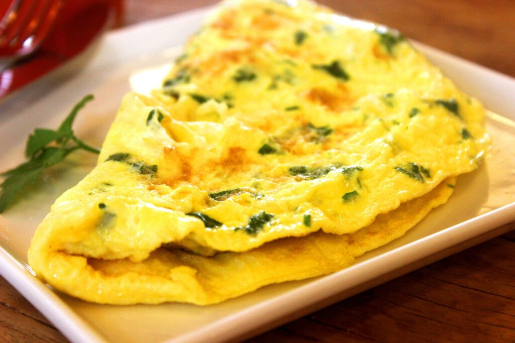 11th egg recipe: omelette with green onions and red peppers