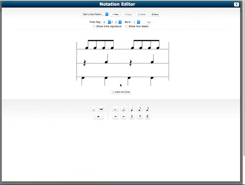 Tour of The Progam  Notation Editor Drum Chart Builder 100quality