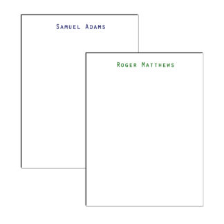 personalized professional notepad with simple font