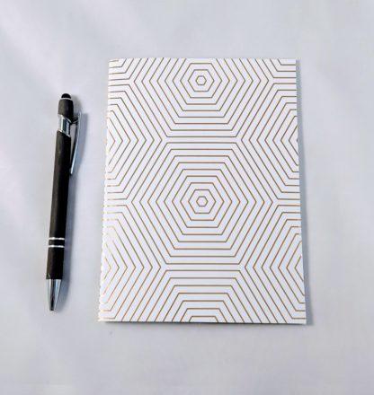 gold foil hexagon pattern notebook