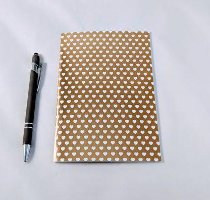 gold foil heart patterned notebook