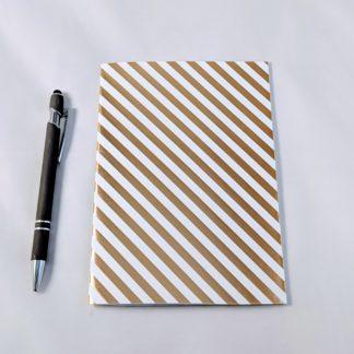 gold foil stripe patterned notebook