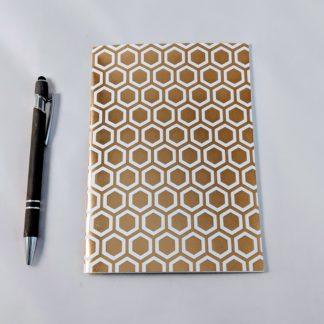 Gold Foil Hexagon Honeycomb notebook