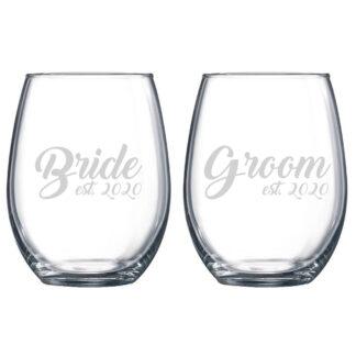 Bride Groom Stemless Wine Glass Set